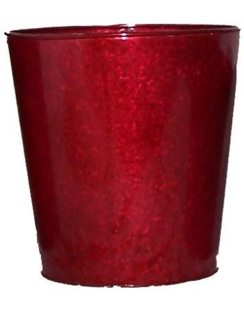 "CT06  Red Tin Pot 11"" Round"