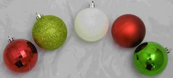 """PBA64 Ornaments Red, White, Green & Lime 2.4"""" Round 50/box"""