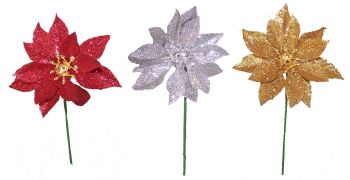 """PPG4AS  3"""" Glittered Poinsettia Assorted - Red, Silver, Gold 36/pk"""