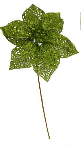 """PPGLG11  7.5"""" Glittered Poinsettia on 9"""" wire pick LIME GREEN  36/pk"""
