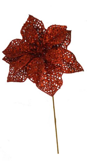 """PPGRD11  7.5"""" Glittered Poinsettia on 9"""" wire pick RED  36/pk"""
