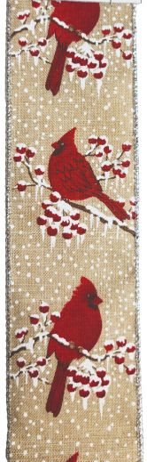 RWBC43   Ribbon Burlap Cardinals w/ Silver WIred Edge  #40 x 33Yds