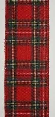 RWFP410 Red & Green Flannel Plaid Ribbon Wire-Edge #40 x 10 yds