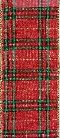 RWRGP410 Ribbon Red/Green/Gold Plaid #40 x 10 yds