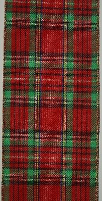 RWRP110 Ribbon Red Plaid Wire-Edge #100 x 10 yds